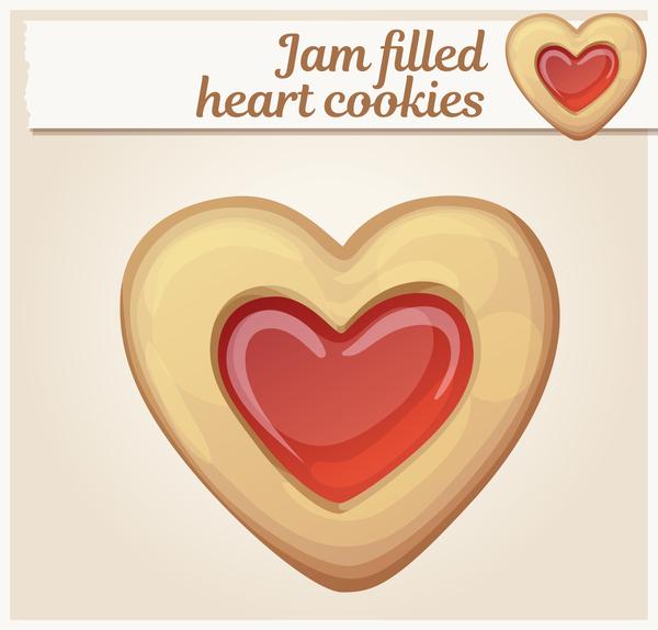 Jam filled heart cookies vector