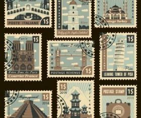 Japan travel postage stamps template vector