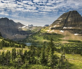 Lakeside mountain grove natural scenery Stock Photo