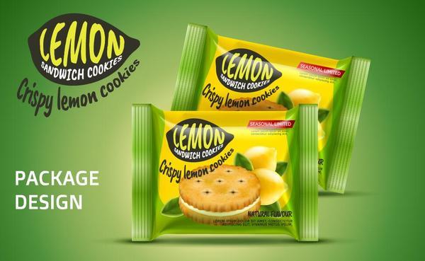 Lemon cookies package vector amterial 02