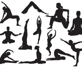 Man and women yoga pose silhouette vector