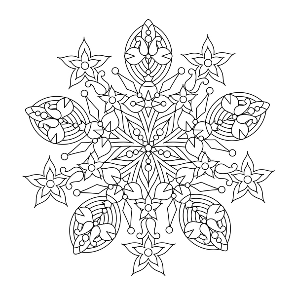 Mandala decorative pattern drawn vector material 03