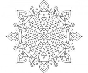 Mandala decorative pattern drawn vector material 04