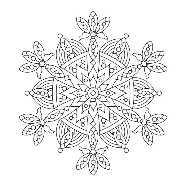 Mandala decorative pattern drawn vector material 06
