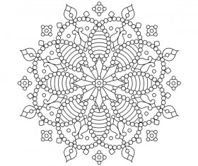 Mandala decorative pattern drawn vector material 07