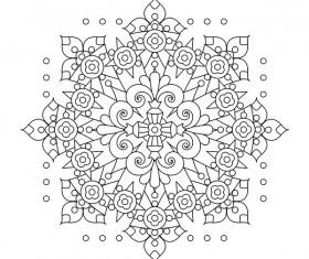 Mandala decorative pattern drawn vector material 08