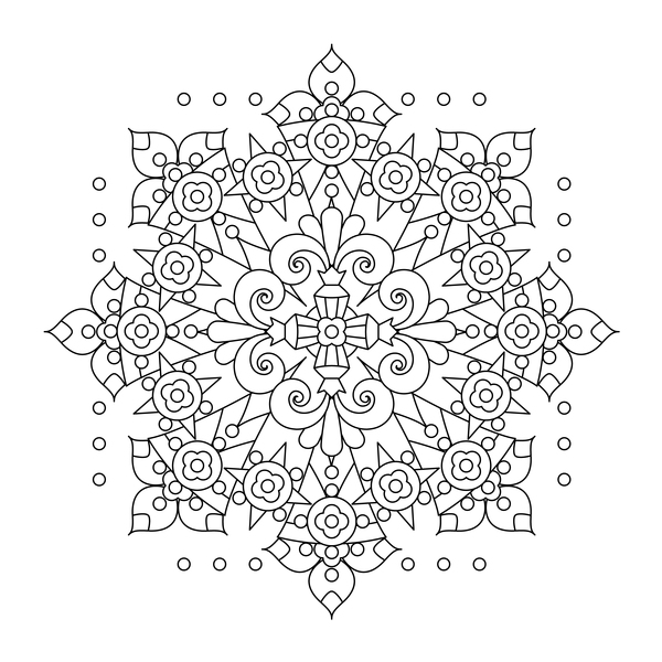 Mandala decorative pattern drawn vector material 08