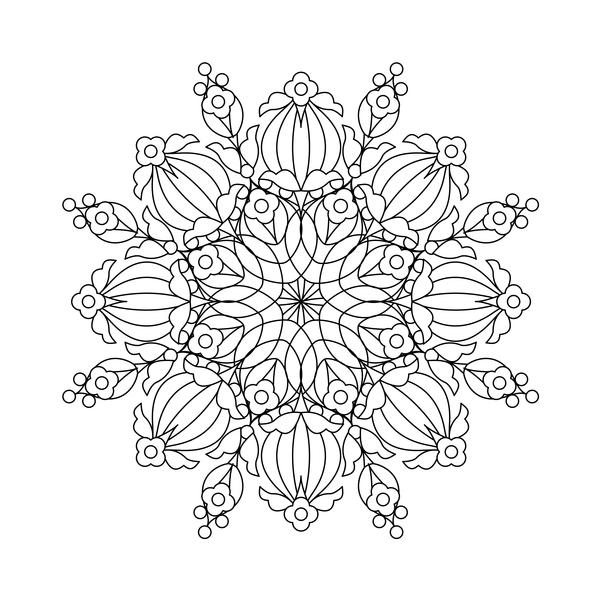 Mandala decorative pattern drawn vector material 09