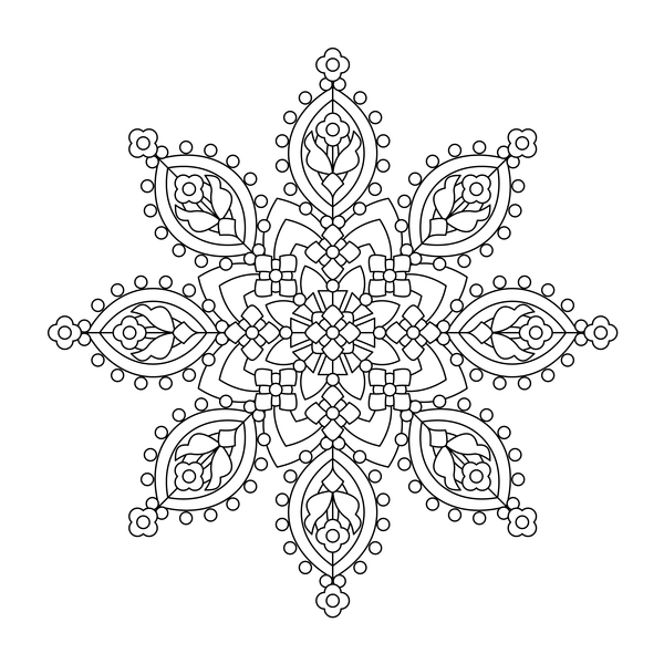 Mandala decorative pattern drawn vector material 10