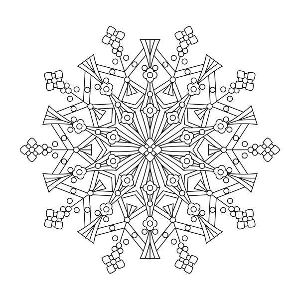 Mandala decorative pattern drawn vector material 11