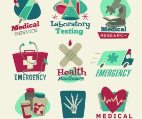 Medical service with healthy labels vector set
