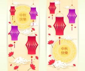 Mid autumn festival vertical banner vector material 06