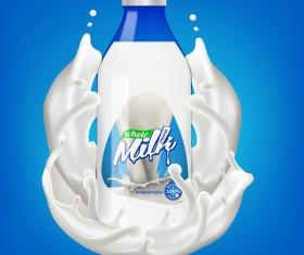 Milk bottle with splashing milk 3d vector illustration 03