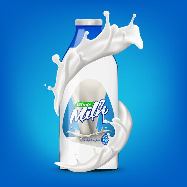 Milk bottle with splashing milk 3d vector illustration 04