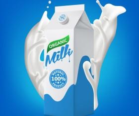 Milk packaging carton with splashing milk vector illustration 01