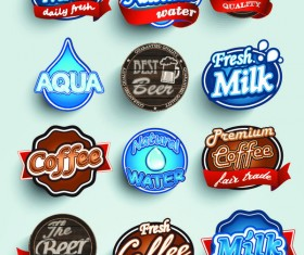 Milk with beer and offer labels retor vector