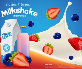 Milkshake with milk splash and berries poster vector template