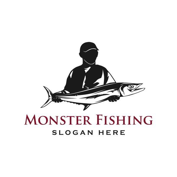 monster fishing logo vector free download