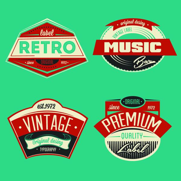 Music retor labels desian vector