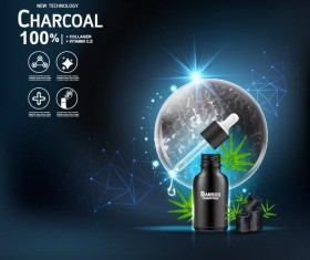 New tech charcoal cosmetics ad poster vector 01