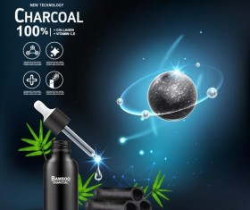 New tech charcoal cosmetics ad poster vector 02