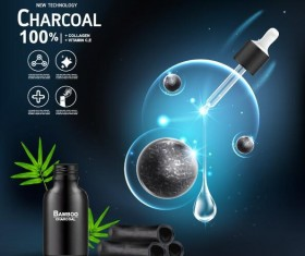 New tech charcoal cosmetics ad poster vector 03