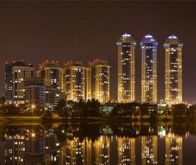 Night city lights Stock Photo 07
