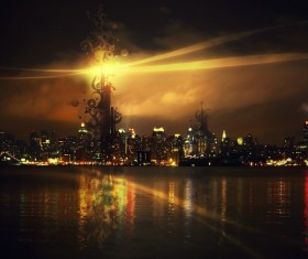 Night city lights Stock Photo 10