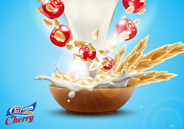 Oat flakes with milk splash and cherry advertising poster vector 01
