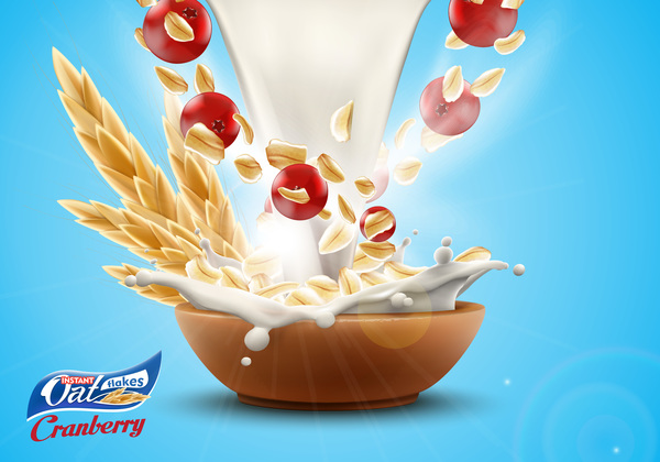 Oat flakes with milk splash and cherry advertising poster vector 02