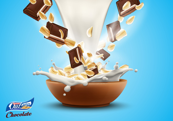 Oat flakes with milk splash and chocolate advertising poster vector