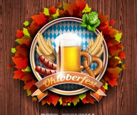 Oktoberfast label with wood background vector