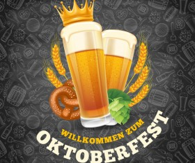 Oktoberfest lable with blackboard background vector