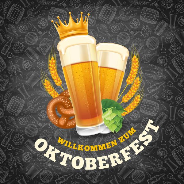 Oktoberfest lable with blackboard background vector