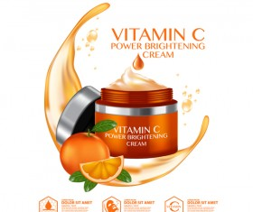 Orange cosmetic advertising poster vector 01
