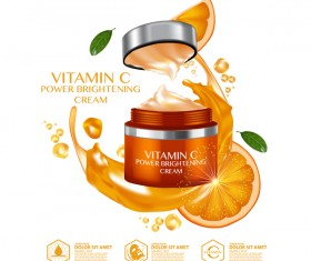 Orange cosmetic advertising poster vector 03