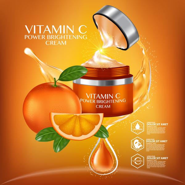 Orange cosmetic advertising poster vector 05 free download