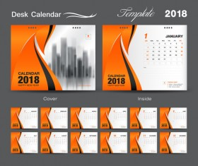 Orange cover desk calendar for 2018 year vector template 01