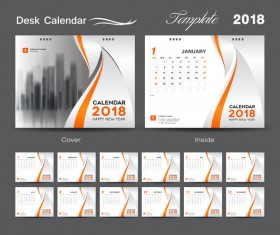 Orange cover desk calendar for 2018 year vector template 02