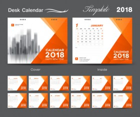 Orange cover desk calendar for 2018 year vector template 03