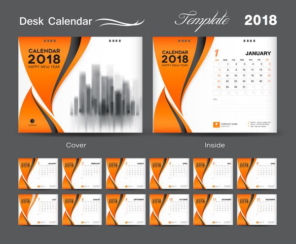 Cover Calendar Design Vector : Orange cover desk calendar for year vector template