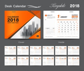 Orange cover desk calendar for 2018 year vector template 05