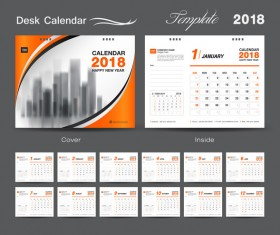 Orange cover desk calendar for 2018 year vector template 06