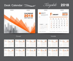 Orange cover desk calendar for 2018 year vector template 07