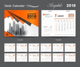 Orange cover desk calendar for 2018 year vector template 08