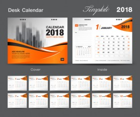 Orange cover desk calendar for 2018 year vector template 10