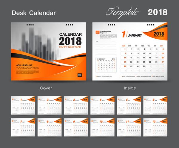 Orange cover desk calendar for 2018 year vector template 10