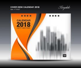 Orange desk calendar 2018 cover template vector 01