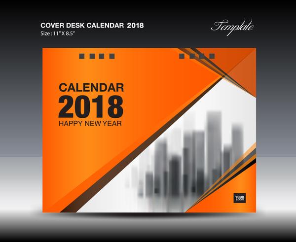 Orange desk calendar 2018 cover template vector 02