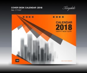 Orange desk calendar 2018 cover template vector 03